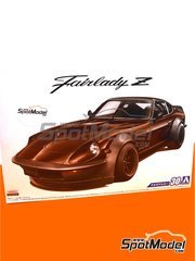 Aoshima: Model car kit 1/24 scale - Nissan Fairlady Z S30 Aerocustom - plastic parts, rubber parts, water slide decals and assembly instructions