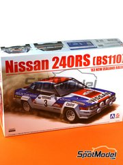 Aoshima: Model car kit 1/24 scale - Nissan 240RS BS110 #3 - Timo Salonen (FI) + Seppo Harjanne (FI) - New Zealand rally 1983 - plastic parts, rubber parts, water slide decals and assembly instructions