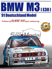 Aoshima: Model car kit 1/24 scale - BMW M3 E30 Warsteiner #3 - Johnny Cecotto (VE), Steve Soper (GB) - DTM 1991 - plastic parts, rubber parts, water slide decals and assembly instructions image