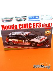 Aoshima: Model car kit 1/24 scale - Honda Civic EF3 Group A Motul Castrol #16 1988 - plastic parts, rubber parts, water slide decals and assembly instructions