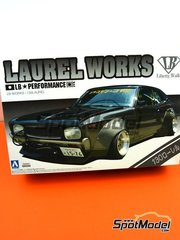 Aoshima: Model car kit 1/24 scale - Nissan Liberty Walk Laurel Works 130  - plastic parts, rubber parts, water slide decals, assembly instructions and painting instructions