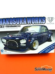 Aoshima: Model car kit 1/24 scale - Nissan Liberty Walk Hakosuka Works Skyline - plastic parts, rubber parts, water slide decals, assembly instructions and painting instructions