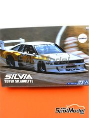 Aoshima: Model car kit 1/24 scale - Nissan KS110 Silvia #23 - Super Silhouette Series 1982 - plastic parts, rubber parts, water slide decals, assembly instructions and painting instructions
