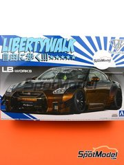 Aoshima: Model car kit 1/24 scale - Liberty Walk LB Works Nissan R35 GT-R Type 2 Ver. 1 - plastic parts, rubber parts, water slide decals, assembly instructions and painting instructions