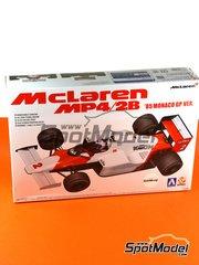 Aoshima: Model car kit 1/20 scale - McLaren MP4/2B TAG Porsche Marlboro #1, 2 - Niki Lauda (AT), Alain Prost (FR) - Monaco Grand Prix 1985 - assembly instructions, plastic parts and water slide decals