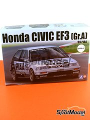Aoshima: Model car kit 1/24 scale - Honda Civic EF3 Group A PIAA #15 - Hideki Okada (JP) - plastic parts, rubber parts, water slide decals and assembly instructions