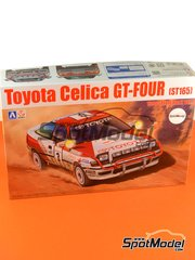 Aoshima: Model car kit 1/24 scale - Toyota Celica GT-Four ST165 Group A Repsol #3 - Bj�rn Waldeg�rd (SE) + Fred Gallagher (IE) - Safari Rally 1990 - assembly instructions, paint masks, plastic parts, rubber parts, water slide decals and other materials