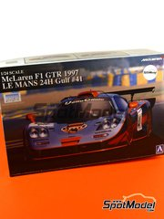Aoshima: Model car kit 1/24 scale - McLaren F1 GTR Long Tail Gulf #41 - 24 Hours Le Mans 1997
