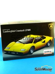 Aoshima: Model car kit 1/24 scale - Lamborghini Countach LP400 - plastic parts, rubber parts, water slide decals, other materials, assembly instructions and painting instructions