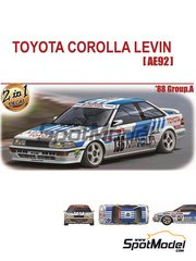 Aoshima: Model car kit 1/24 scale - Toyota Corolla Levin AE92 Group A 1988 - plastic parts, water slide decals and assembly instructions