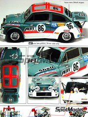 Arena: Model car kit 1/24 scale - Fiat Abarth 1000 ABT Tuning #86 - Johann Abt (DE) + Umberto Grano (IT) - Boucles de SPA 1976 - resin multimaterial kit