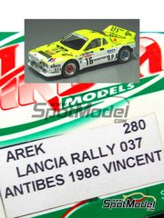 Arena: Model car kit 1/43 scale - Lancia Rally 037 OPA #16 - Francis  Vincent (FR) - Antibes Rally 1986 - resin multimaterial kit