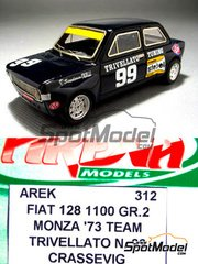 Arena: Model car kit 1/43 scale - Fiat 128 1100 Group 2 Team Trivellato #99 - Luigi Crassevig (IT) - Monza Rally 1973 - resin multimaterial kit