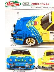 Arena: Decals 1/43 scale - Porsche 911 SC Hella - Benigno 'Beny' Fernandez (ES) + José Luis Salas (ES) - Orense Rally 1981