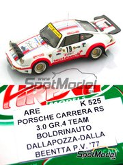 Arena: Model car kit 1/43 scale - Porsche 911 Carrera 2.7 RS Team Boldrinauto #19 - Luiggi Dalla Pozza (IT) + Orlando Dalla Benetta (IT) - Rally Prealpino Venette 1977 - resin multimaterial kit