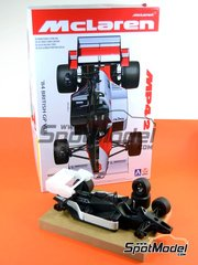 Beemax Model Kits: Model car kit 1/20 scale - McLaren MP4/2 TAG Porsche Marlboro #7, 8 - Niki Lauda (AT), Alain Prost (FR) - British Grand Prix 1984 - plastic parts, rubber parts, water slide decals and assembly instructions