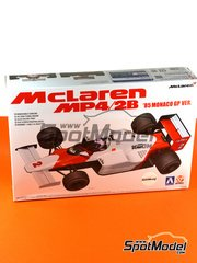 Beemax Model Kits: Model car kit 1/20 scale - McLaren MP4/2B TAG Porsche Marlboro #1, 2 - Niki Lauda (AT), Alain Prost (FR) - Monaco Grand Prix 1985 - plastic parts, rubber parts, water slide decals and assembly instructions
