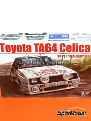 Beemax Model Kits: Model car kit 1/24 scale - Toyota TA64 Celica Duckhams Oils #11, 13 - Juha Kankkunen (FI) + Fred Gallagher (IE), Björn Waldegård (SE) + Hans Thorszelius (SE) - Portugal Rally 1984 - plastic parts, rubber parts, water slide decals, assembly instructions and painting instructions