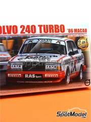 Beemax Model Kits: Model car kit 1/24 scale - Volvo 240 Turbo Kamachi #2 - Johnny Cecotto (VE) - Guia Race of Macau 1986 - plastic parts, rubber parts, water slide decals, assembly instructions and painting instructions