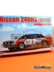 Beemax Model Kits: Model car kit 1/24 scale - Nissan 240RS BS110 #2 - Shekhar Mehta (KE) + R. Combe (KE) - Safari Rally 1984 - plastic parts, rubber parts, water slide decals, assembly instructions and painting instructions