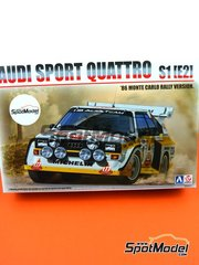 Beemax Model Kits: Model car kit 1/24 scale - Audi Quattro Sport S1 HB Audi Team #2 - Montecarlo Rally - Rallye Automobile de Monte-Carlo 1985 - plastic parts, rubber parts, water slide decals, assembly instructions and painting instructions