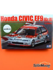 Beemax Model Kits: Model car kit 1/24 scale - Honda Civic EF9 Group A Primo #100 1992 - plastic parts, rubber parts, water slide decals and assembly instructions image