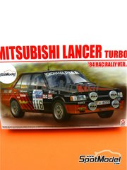 Beemax Model Kits: Model car kit 1/24 scale - Mitsubishi Lancer 2000 Turbo - Lombard RAC Rally 1984 - plastic parts, rubber parts, water slide decals, assembly instructions and painting instructions image