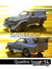 Beemax Model Kits: Maqueta de coche escala 1/24 - Audi Quattro Sport S1 - piezas de plástico, piezas de goma, calcas de agua, manual de instrucciones e instrucciones de pintado