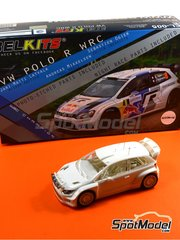 Belkits: Model car kit 1/24 scale - Volkswagen Polo R WRC #6, 7, 8 - Jari-Matti Latvala (FI) + Miikka Anttila (FI), Andreas Mikkelsen (NO) + Paul Nagle (IE), Sébastien Ogier (FR) + Julien Ingrassia (FR) - Alsace France Rally 2013 - plastic model kit image