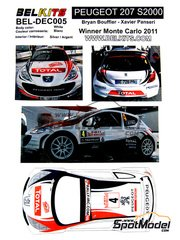 Belkits: Decals 1/24 scale - Peugeot 207 S2000 Total #4 - Bryan Bouffier (FR) + Xavier Panseri (FR) - Montecarlo Rally 2011 - for Belkits reference BEL-001