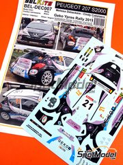 Belkits: Decals 1/24 scale - Peugeot 207 S2000 La Pomme #21 - Melissa Debackere (BE) + Cindy Cokelaere (BE) - Ypres Rally 2011 - for Belkits reference BEL-001