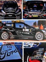 Belkits: Decals 1/24 scale - Ford Fiesta RS WRC Abu Dhabi #3, 4, 10 - Mikko Hirvonen (FI) + Jarmo Lehtinen (FI), Jari-Matti Latvala (FI) + Miikka Anttila (FI), Khalid Al-Qassimi (AE) + Michael Orr (GB) - Alsace France Rally 2011 - for Belkits reference BEL-003