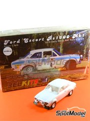 Belkits: Model car kit 1/24 scale - Ford Escort RS1600 Mk I Uniflo #4 - Roger Clark (GB) + Tony Mason (GB) - Great Britain RAC Rally 1972 - plastic model kit