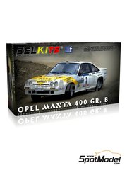Belkits: Model car kit 1/24 scale - Opel Manta 400 Group B #1, 3 - Guy Fréquelin (FR) + Christian 'Tilber' Gilbert (FR) - Tour de France Automobile 1984 - plastic parts, rubber parts, water slide decals and assembly instructions
