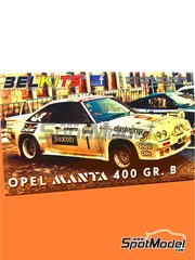 Belkits: Model car kit 1/24 scale - Opel Manta 400 Group B #1 - Jimmy McRae (GB) + Rob Arthur (GB) - 24 Hours de Ypres Rally 1984 - paint masks, photo-etched parts, plastic parts, rubber parts, seatbelt fabric, water slide decals, other materials, assembly instructions and painting instructions image