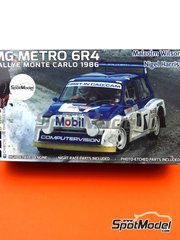 Belkits: Model car kit 1/24 scale - MG Metro 6R4 Group B Computervision - Malcolm Wilson (GB) + Nigel Harris (GB) - Montecarlo Rally 1986 - plastic parts, rubber parts, water slide decals, assembly instructions and painting instructions image