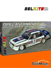 Belkits: Model car kit 1/24 scale - Opel Ascona 400 Rothmans #2 - Walter Röhrl (DE) + Christian Geistdörfer (DE) - Montecarlo Rally - Rallye Automobile de Monte-Carlo 1982 - photo-etched parts, plastic parts, rubber parts, seatbelt fabric, water slide decals, assembly instructions and painting instructions