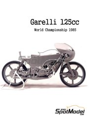 Brach Model: Model bike kit 1/12 scale - Garelli 125cc MDS #3 - Fausto Gresini (IT) - World Championship 1985 - photo-etched parts, resin parts, rubber parts, vacuum formed parts, water slide decals and assembly instructions