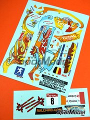 Colorado Decals: Marking / livery 1/24 scale - Peugeot 207 S2000 Total #8 - Freddy Loix (BE) + Frederic Miclotte (BE) - Ypres Rally 2009 - water slide decals - for Belkits reference BEL-001