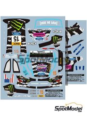 Colorado Decals: Marking / livery 1/24 scale - Ford Fiesta RS WRC Monster #15 - Ken Block (US) + Alessandro Gelsomino (IT) 2014 - water slide decals - for Belkits reference BEL-003