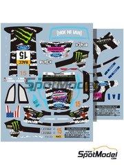 Colorado Decals: Decoración escala 1/24 - Ford Fiesta RS WRC Monster Nº 15 - Ken Block (US) + Alessandro Gelsomino (IT) 2014 - calcas de agua - para la referencia de Belkits BEL-003