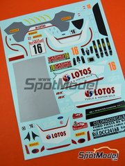 Colorado Decals: Decoración escala 1/24 - Ford Fiesta RS WRC Lotos Nº 16 - Robert Kubica (PL) + Maciej Szczepaniak (PL) - Rally de Montecarlo - Rallye Automobile de Monte-Carlo 2015 - calcas de agua - para la referencia de Belkits BEL-003