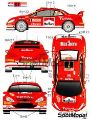 Crazy Modeler: Decals 1/24 scale - Peugeot 307 WRC Marlboro - Montecarlo Rally 2005 - tobacco logos - for Tamiya kit TAM24285