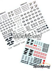 Crazy Modeler: Photo-etched parts 1/24 scale - Nissan 350 + Nismo + Fairlady logos - decals and photo-etched parts