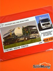 Czech Truck Model: Detail up set 1/24 scale - Volvo F12 Globetrotter - full colour photo-etched parts, photo-etched parts and assembly instructions - for Italeri references 751 and 752 image