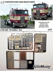 Czech Truck Model: Detail up set 1/25 scale - Peterbilt 352 - photo-etched parts - for AMT reference AMT1090
