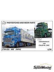 Czech Truck Model: Detail up set 1/24 scale - Mercedes Benz Actros Gigaspace MP4 - photo-etched parts and assembly instructions - for Italeri reference 3905