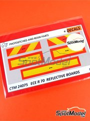 Czech Truck Model: Upgrade 1/24 scale - ECE R 70 Reflective boards - photo-etched parts and water slide decals image