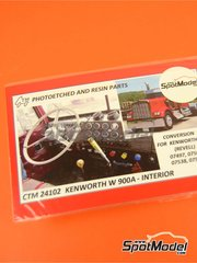 Czech Truck Model: Dashboard 1/25 scale - Kenworth W900 - full colour photo-etched parts - for Revell references REV07402, 07402, REV07406, 07406, 80-7406, REV07497 and 7497