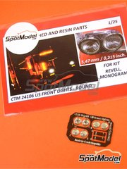 Czech Truck Model: Lights 1/25 scale - US round front lights - photo-etched parts